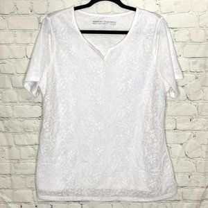 Penningtons white tee with lace overlay